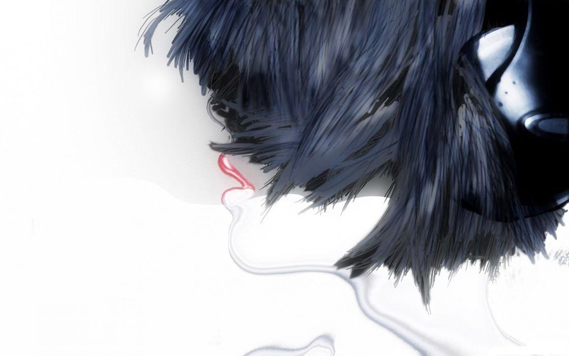 Figure girl head hair headphones mouth wallpaper