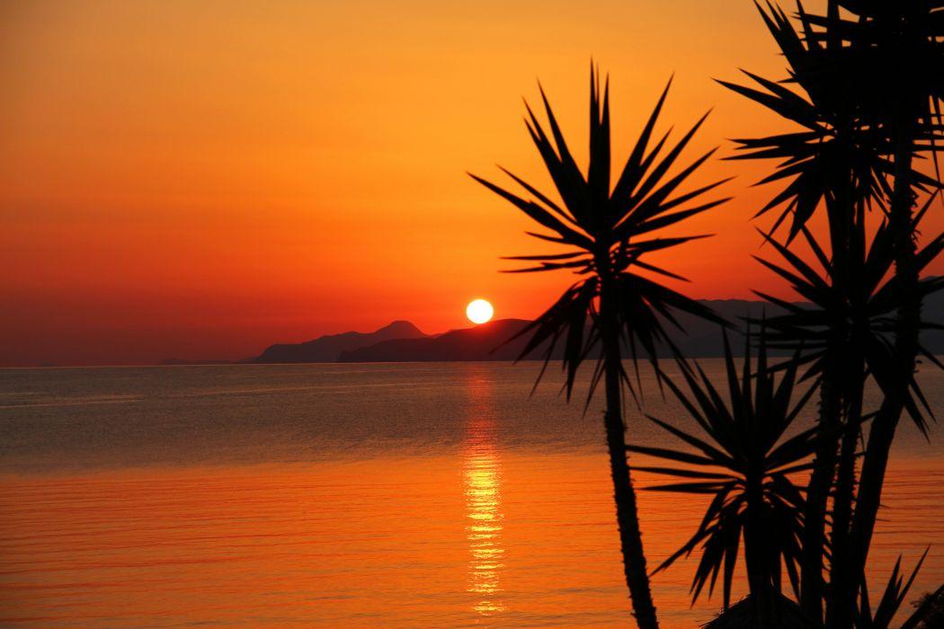 Palms Mountains sunset wallpaper