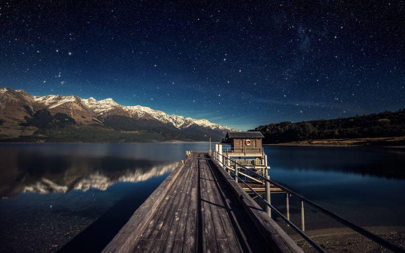 sky lake Mountains Star wallpaper