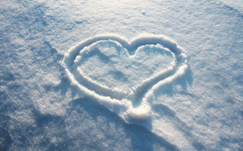 Snow heart winter wallpaper