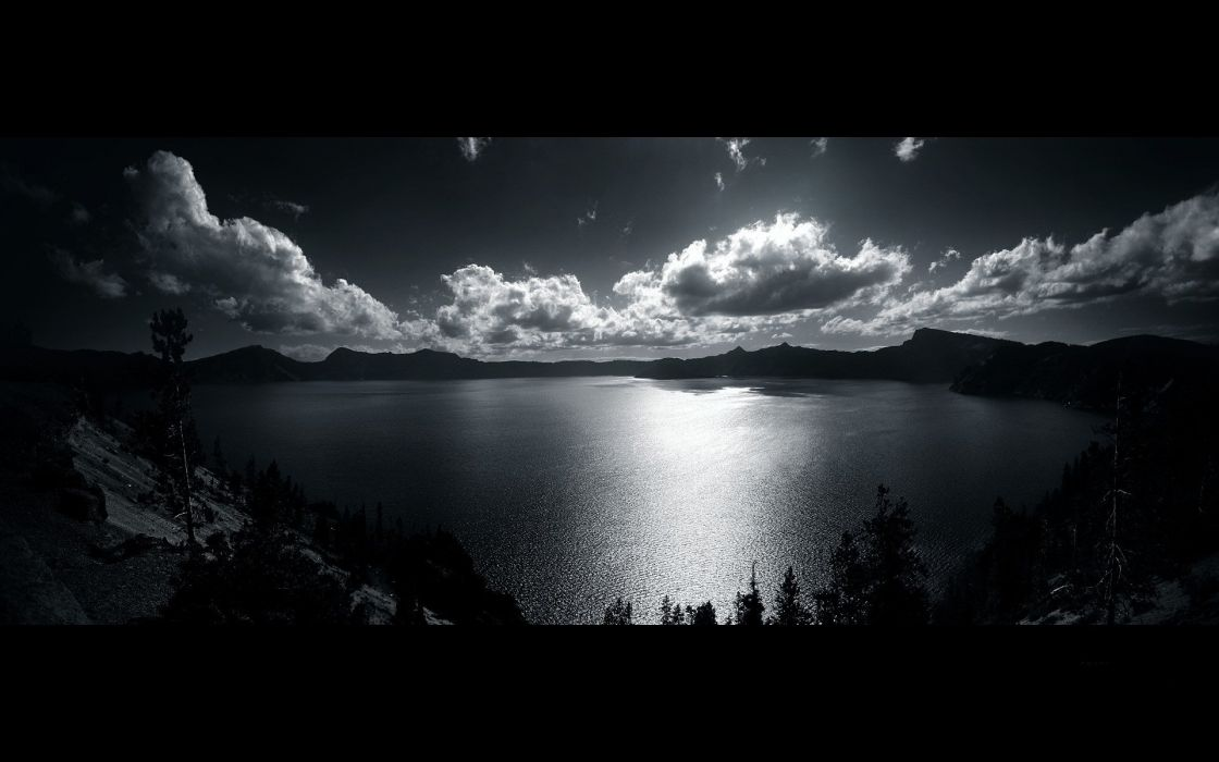 water clouds nature trees grayscale monochrome lak wallpaper