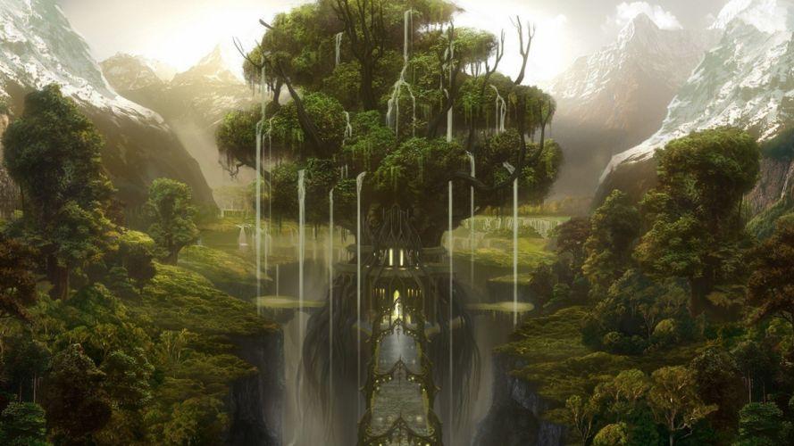 Tree of life fantasy world wallpaper