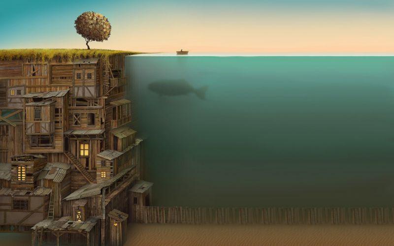 Underwater houses fantasy wallpaper
