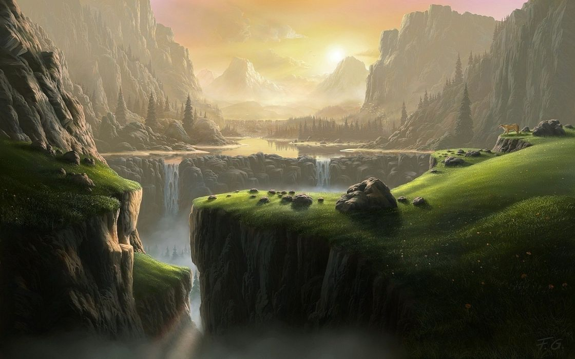 waterfall mountains graphics fantasy world wallpaper