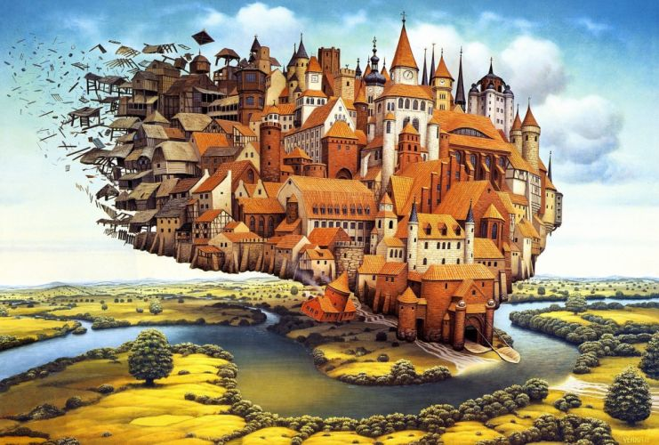 houses fantasy wallpaper
