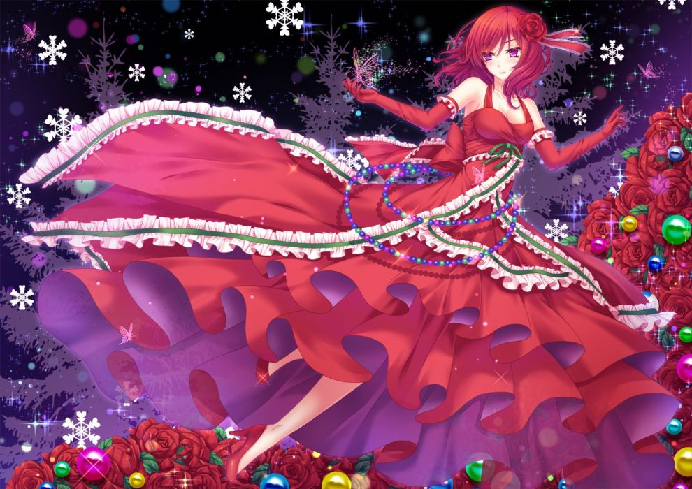 breasts butterfly cleavage dress elbow gloves flowers love live! school idol project nishikino maki pink eyes red hair ribbons rose toshi wallpaper