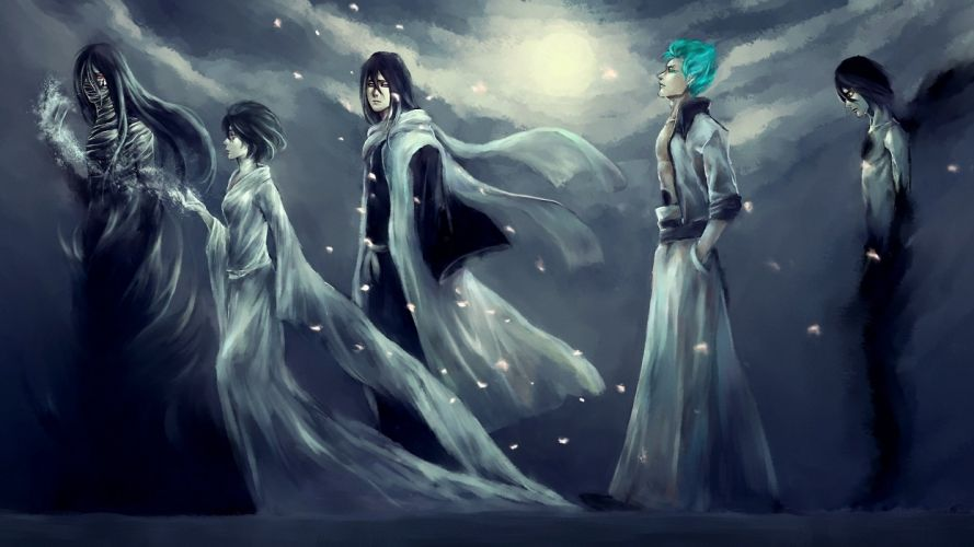 Bleach-Anime-Manga-People-Dark-Men-Women-Males-Girls-Female-Moon-Sky-Clouds-Magic-Wallpaper-For-Mobile wallpaper