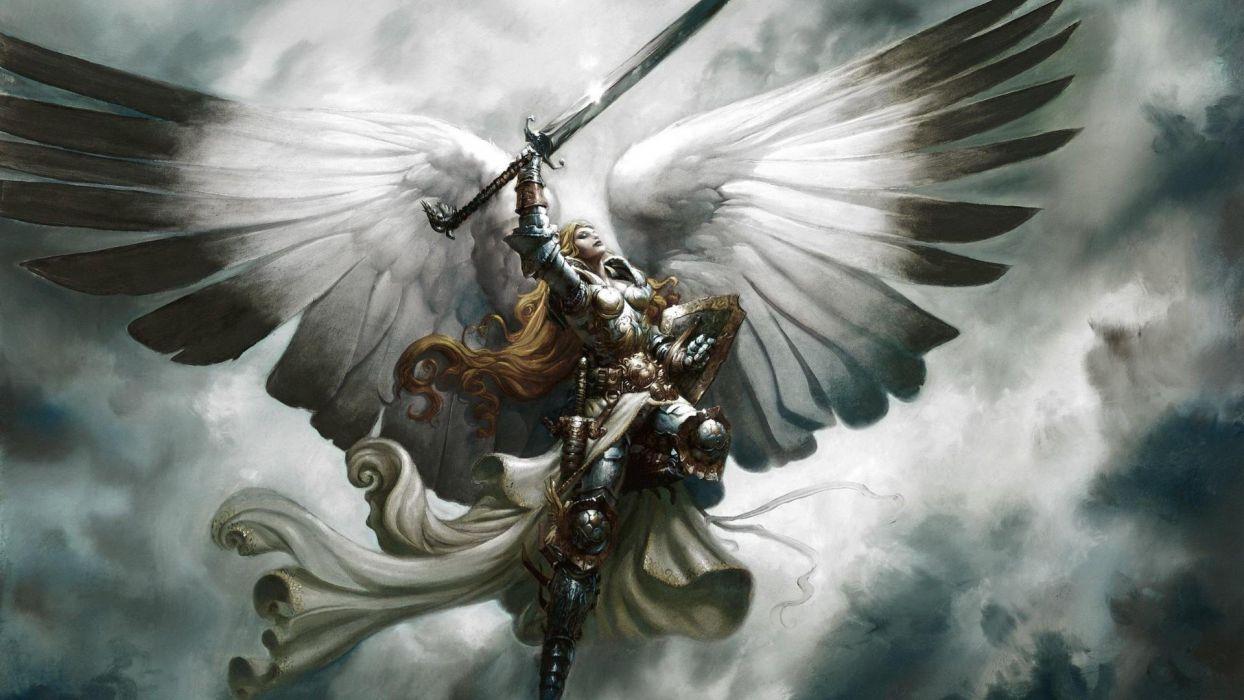 Angel Warrior Angelman Fantasy Wings Sword Armor Wallpaper 1920x1080 554489 Wallpaperup