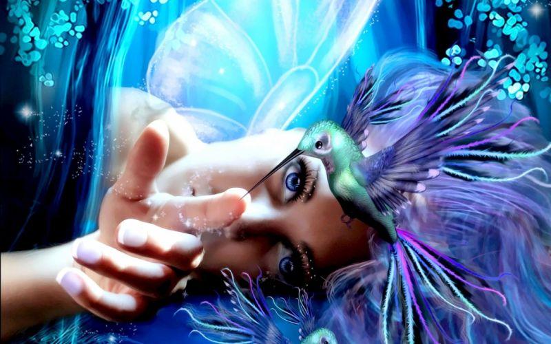 HUMMINGBIRD - fantasy touch blue girl wallpaper