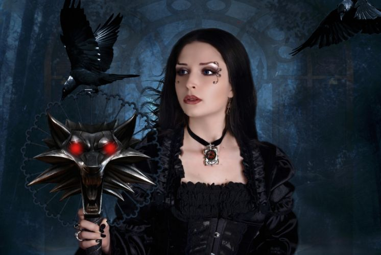 LADY OF THE NIGHT - dark gothic tattoo crow cedar wolf wallpaper