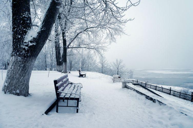 winter snow bench wallpaper