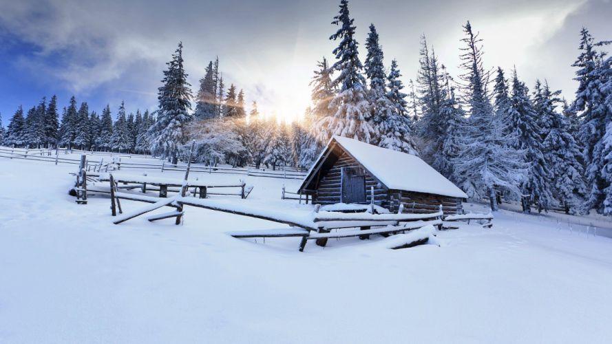 winter snow house wallpaper