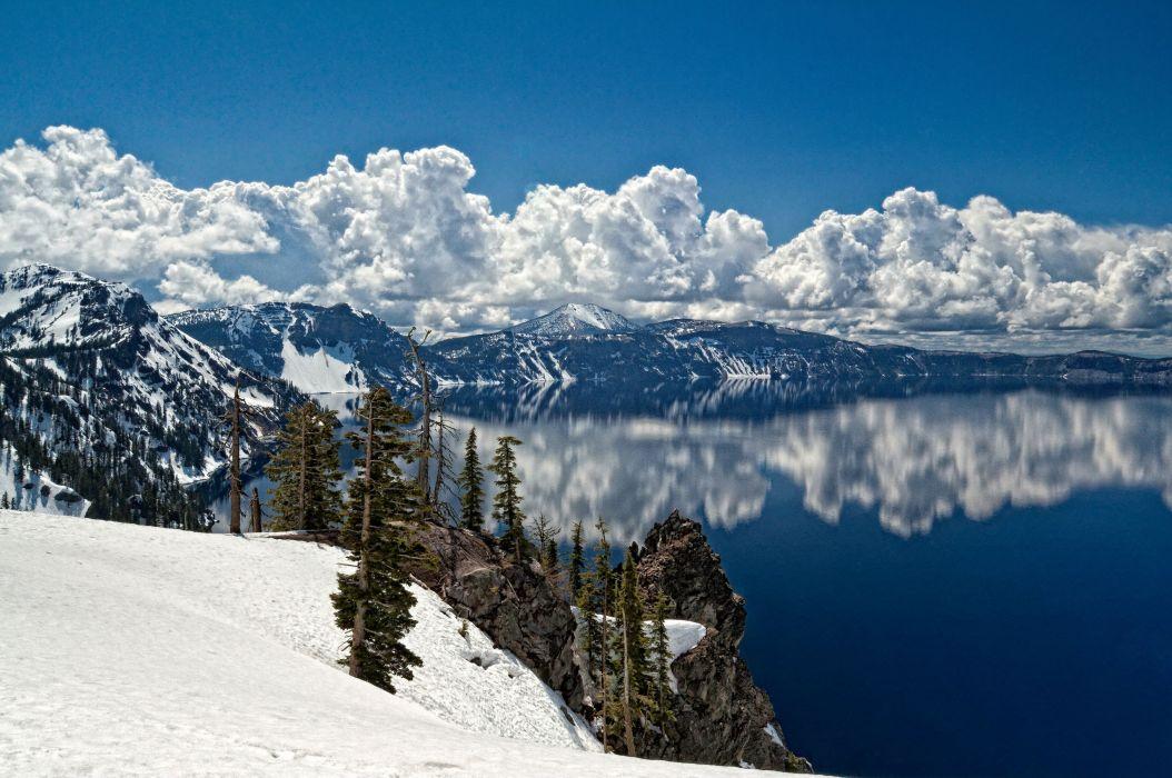winter snow lake mountains reflection wallpaper