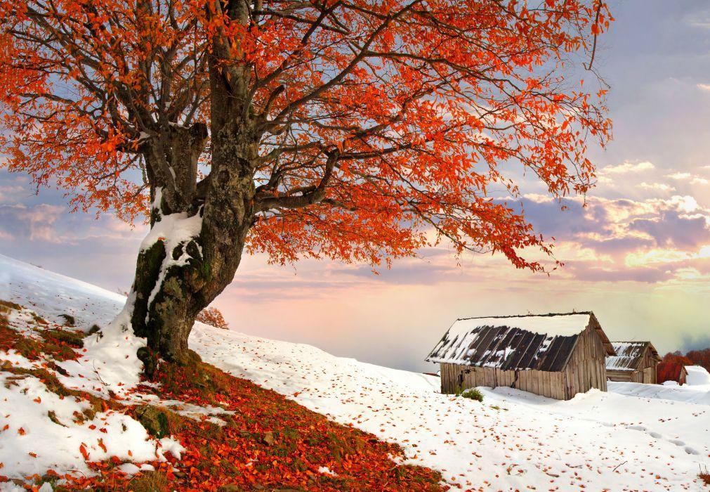 winter snow autumn farm rustic wallpaper