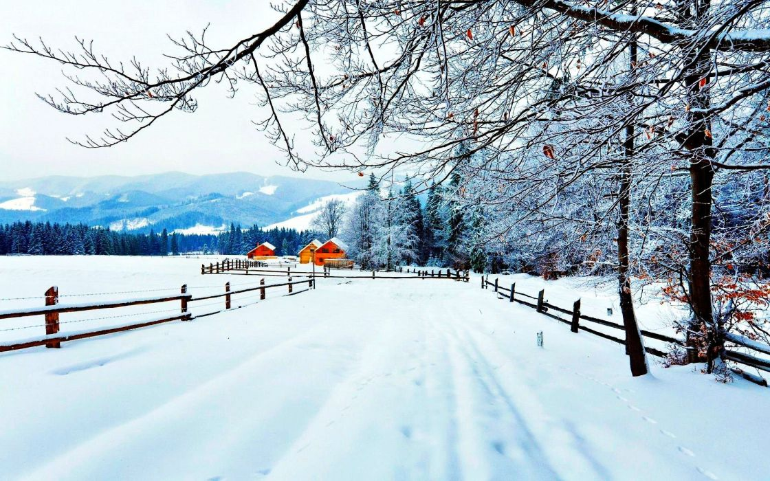Winter Snow Farm House Rustic Wallpaper