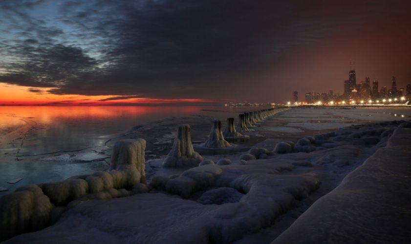 winter snow lake city chicago sunset wallpaper