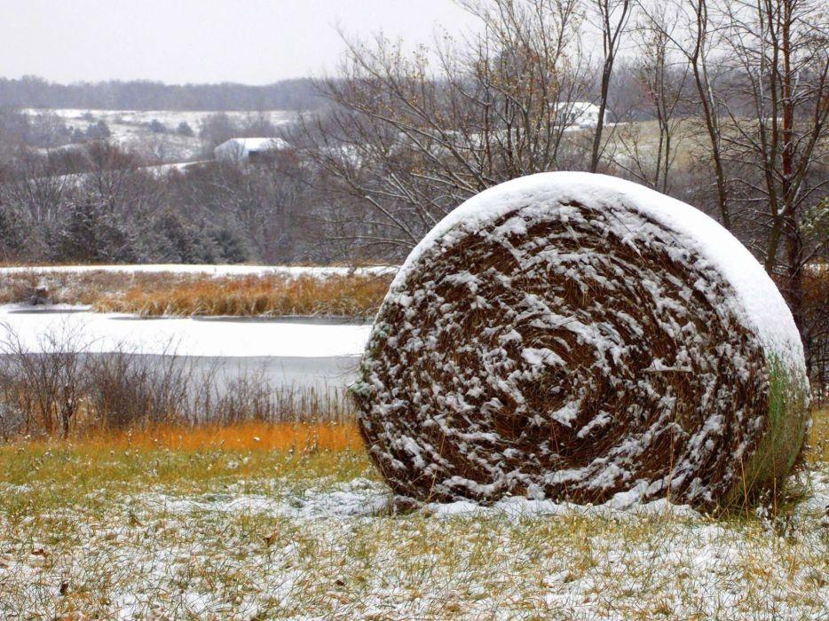 winter snow hay farm rustic wallpaper