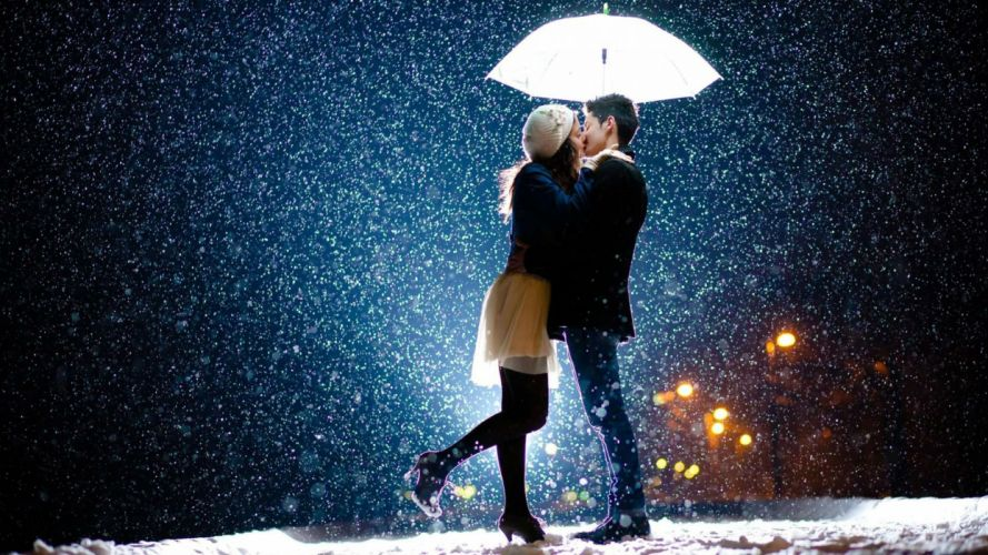 winter snow mood love kiss umbrella wallpaper