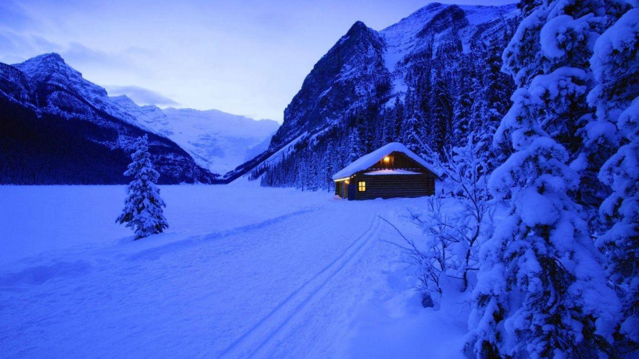 winter snow house mountains wallpaper