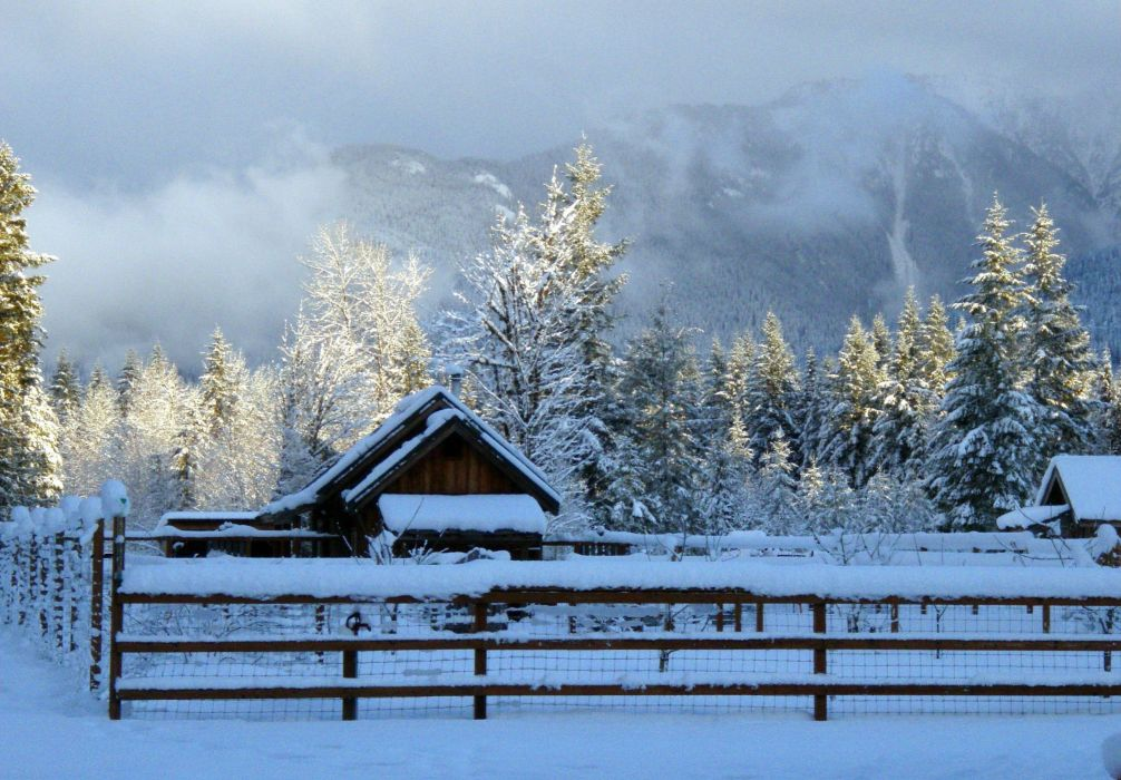 Winter Snow Farm Rustic Landscape Wallpaper