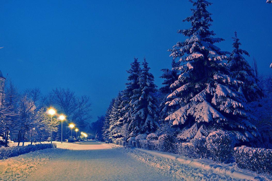 winter snow lamp post park wallpaper