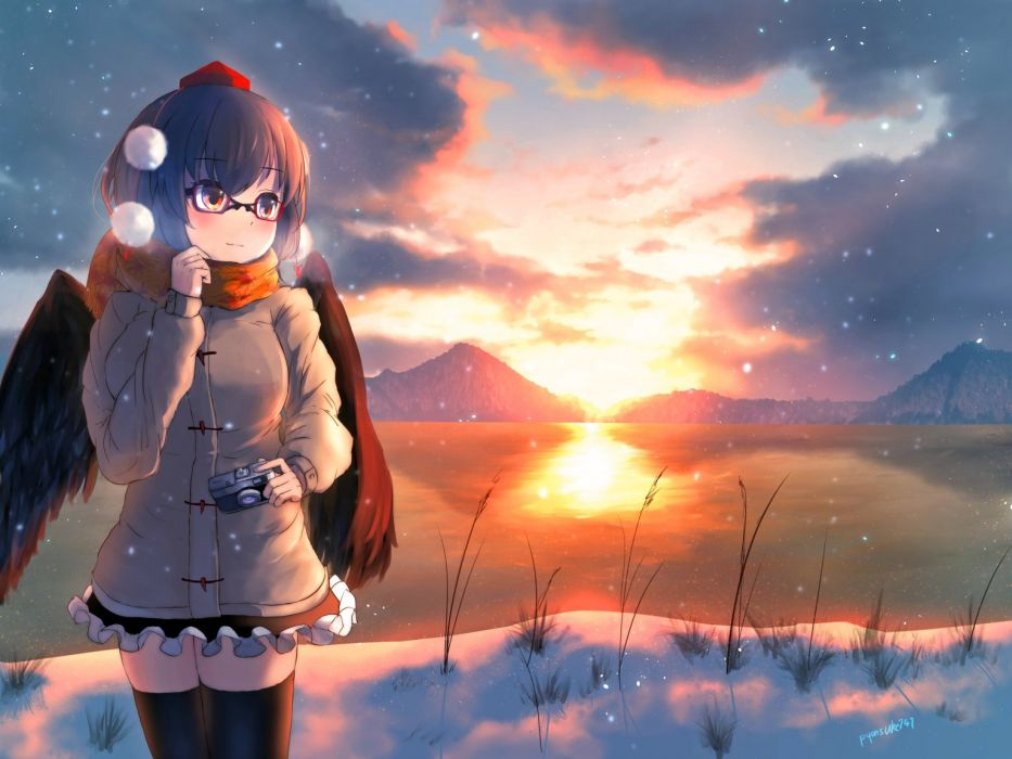 anime girl blush-camera-clouds-glasses-hat-pyonsuke0141-scarf-shameimaru aya-signed-skirt-sky-thighhighs-touhou-wings-zettai ryouiki wallpaper