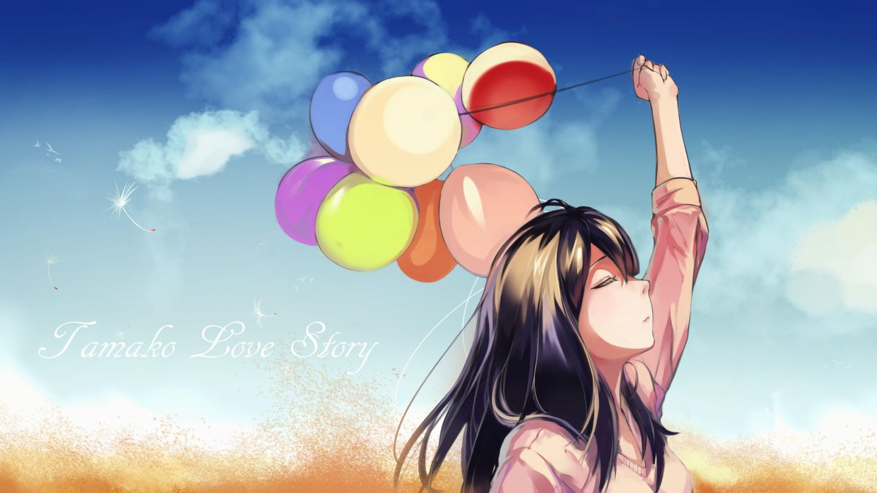 anime girl balloons sky brown hair-jpeg artifacts-tagme-tagme artist-tagme characte wallpaper