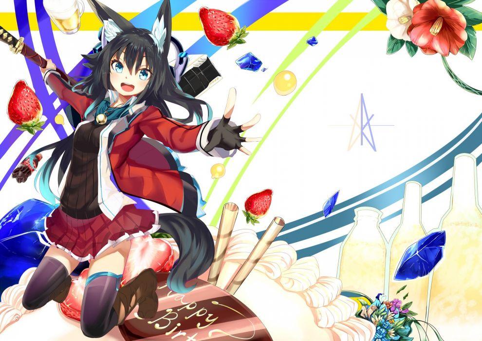 anime animal ears haik headphones kitsune sword tail thighhighs wallpaper