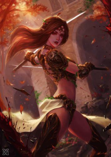 armor blood pointy ears sword girl wallpaper