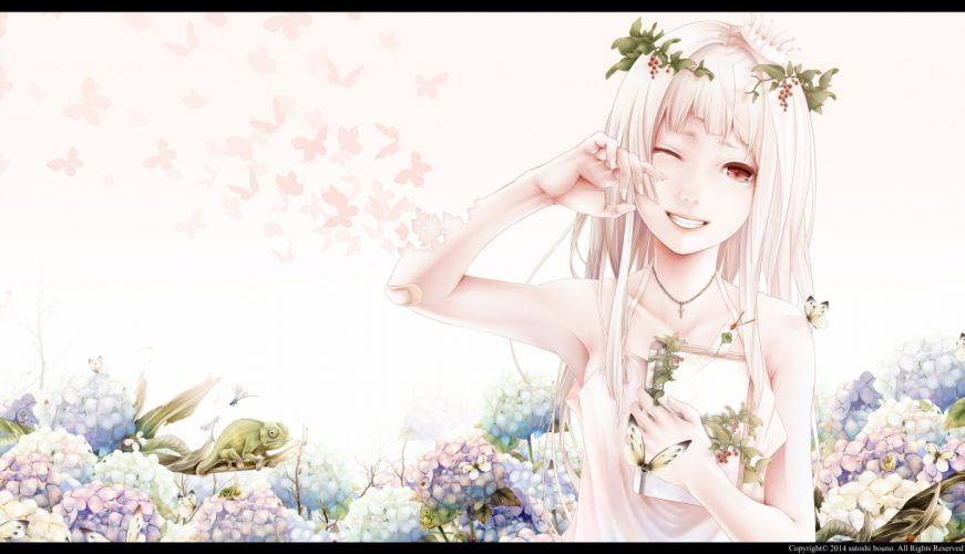 girl anime butterfly animal cry flower dress wallpaper