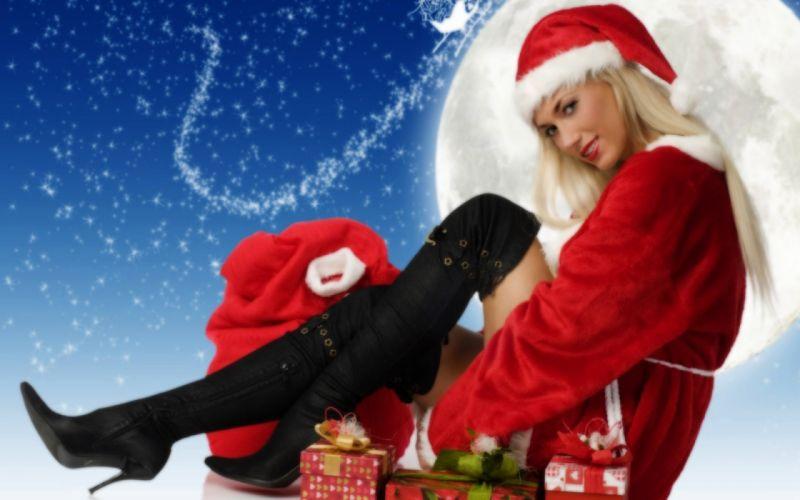 CHRISTMAS - santa girl gifts bonnet red wallpaper