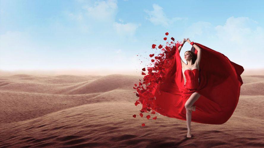LADY IN RED - desert girl dress blonde wallpaper