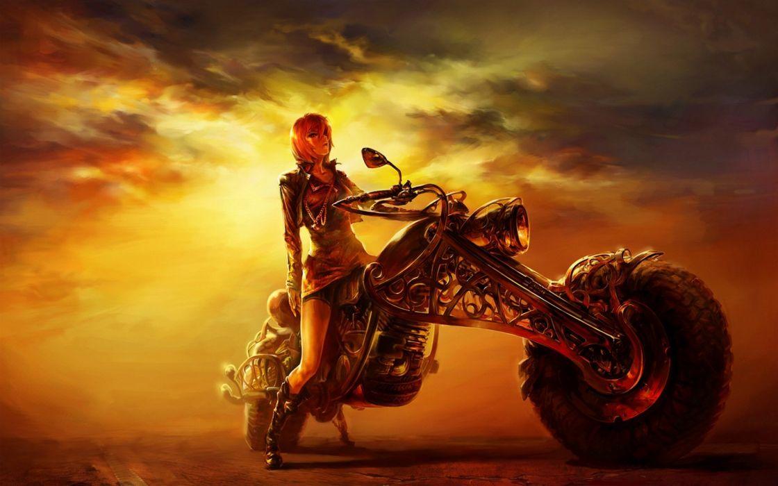 MOTORCYCLE - art girl sunset wallpaper