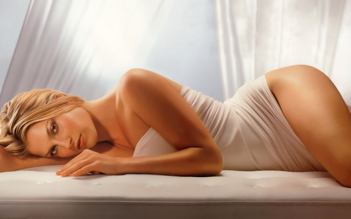 SENSUALITY - blonde girl sead lying bed wallpaper