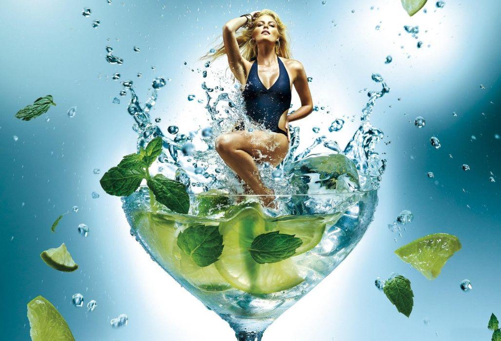 SENSUALITY - fantasy girl bathing lemonade glass wallpaper