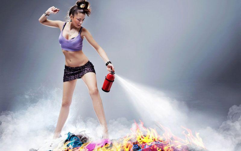 SENSUALITY - firefighter brunette girl belly fire extinguisher wallpaper