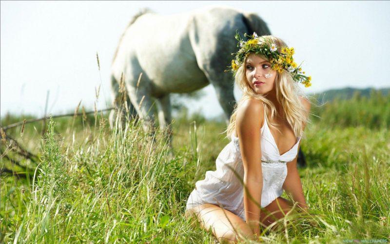 SENSUALITY - girl blonde horse green grass flowers wallpaper