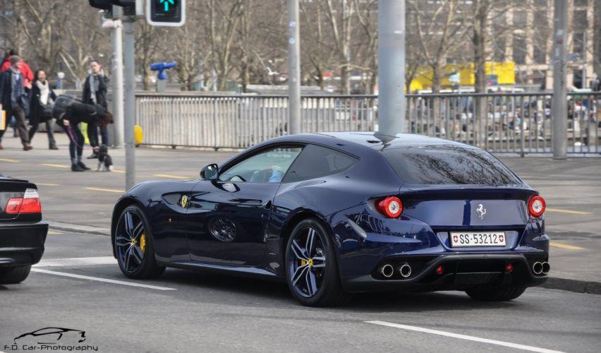 ferrari Ferrari FF FF 2+2 coupe supercars cars italia Blue bleu wallpaper
