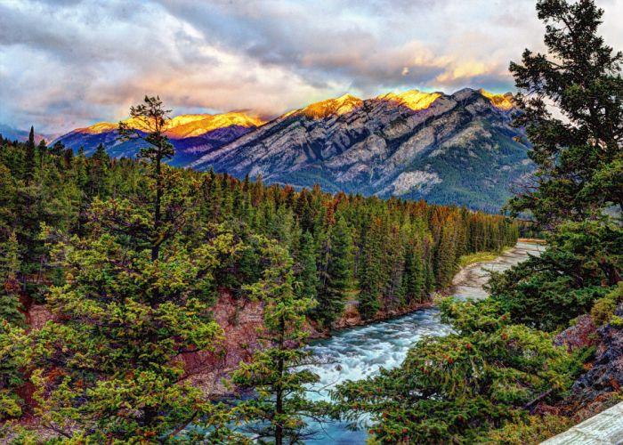sunrise Banff Springs Mountains river trees wallpaper