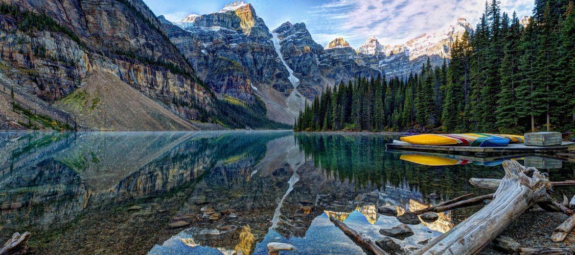Moraine Lake Banff National Park lake Mountains wallpaper