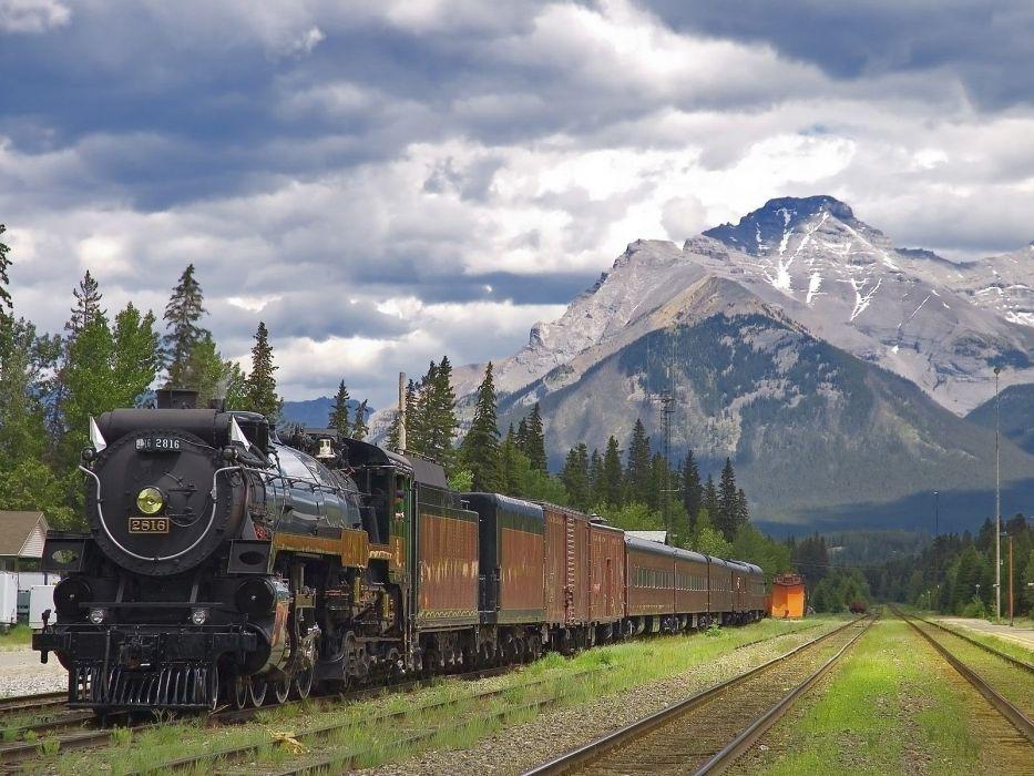 Train railroad Rails mountains locomotive Banff National Park Alberta Canada wallpaper