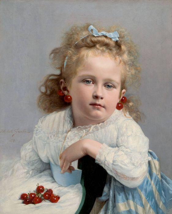 Jules Emile Saintin art oil children blue eyes wallpaper