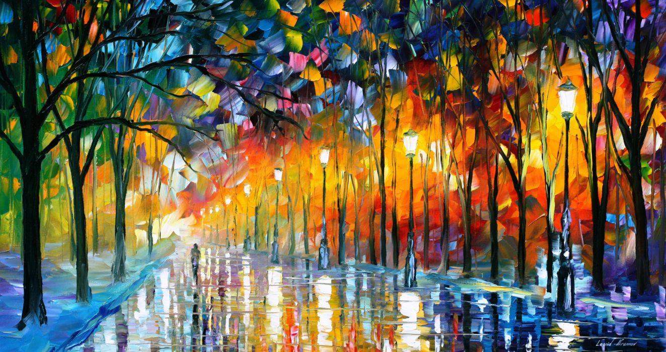 Leonid Afremov art oil artist color tree light painting wallpaper
