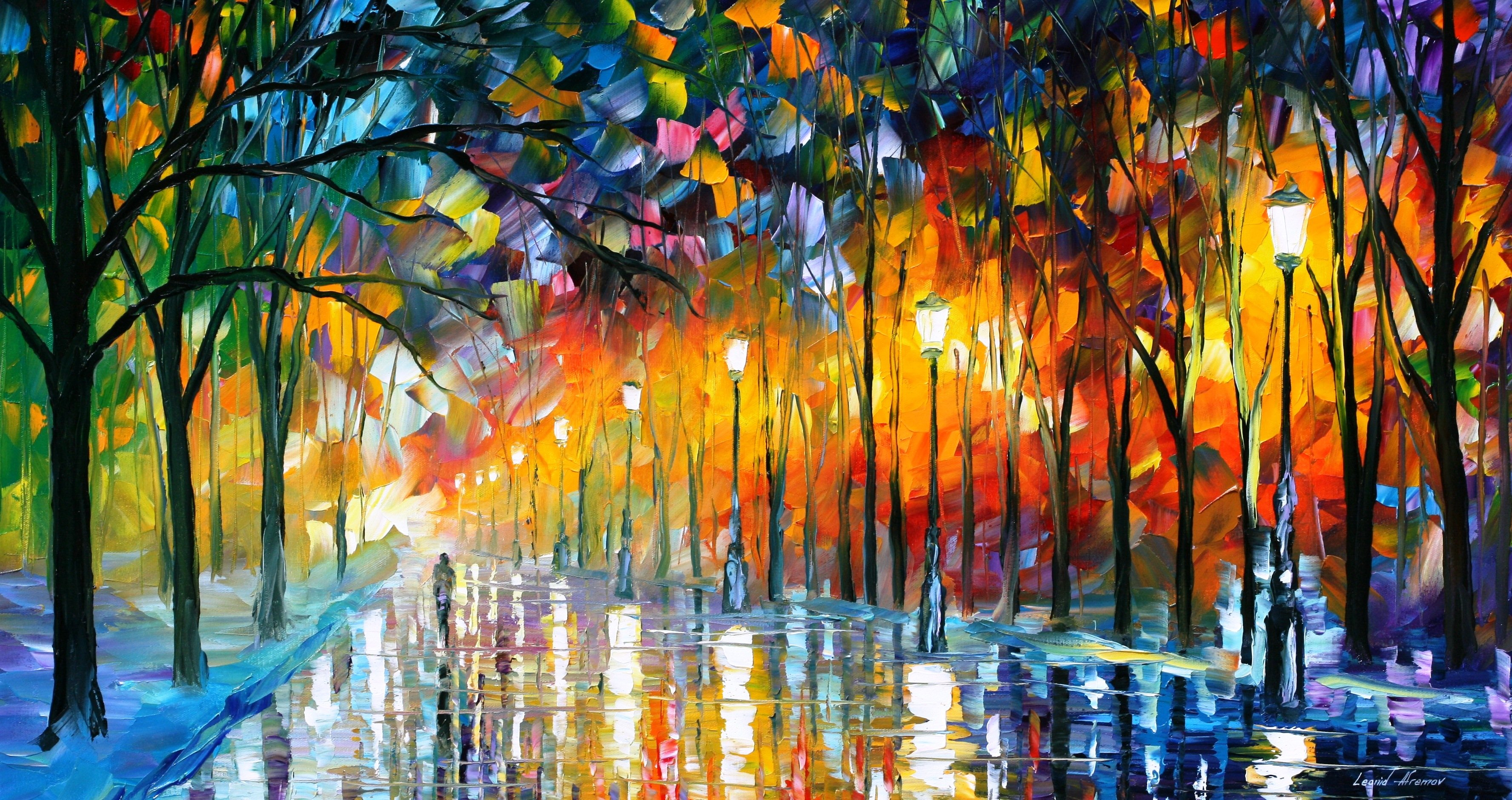 Leonid afremov art oil artist color tree light painting for Lights for paintings