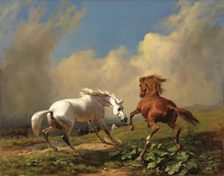 Rudolf Koller oil art horse cloud sky wallpaper