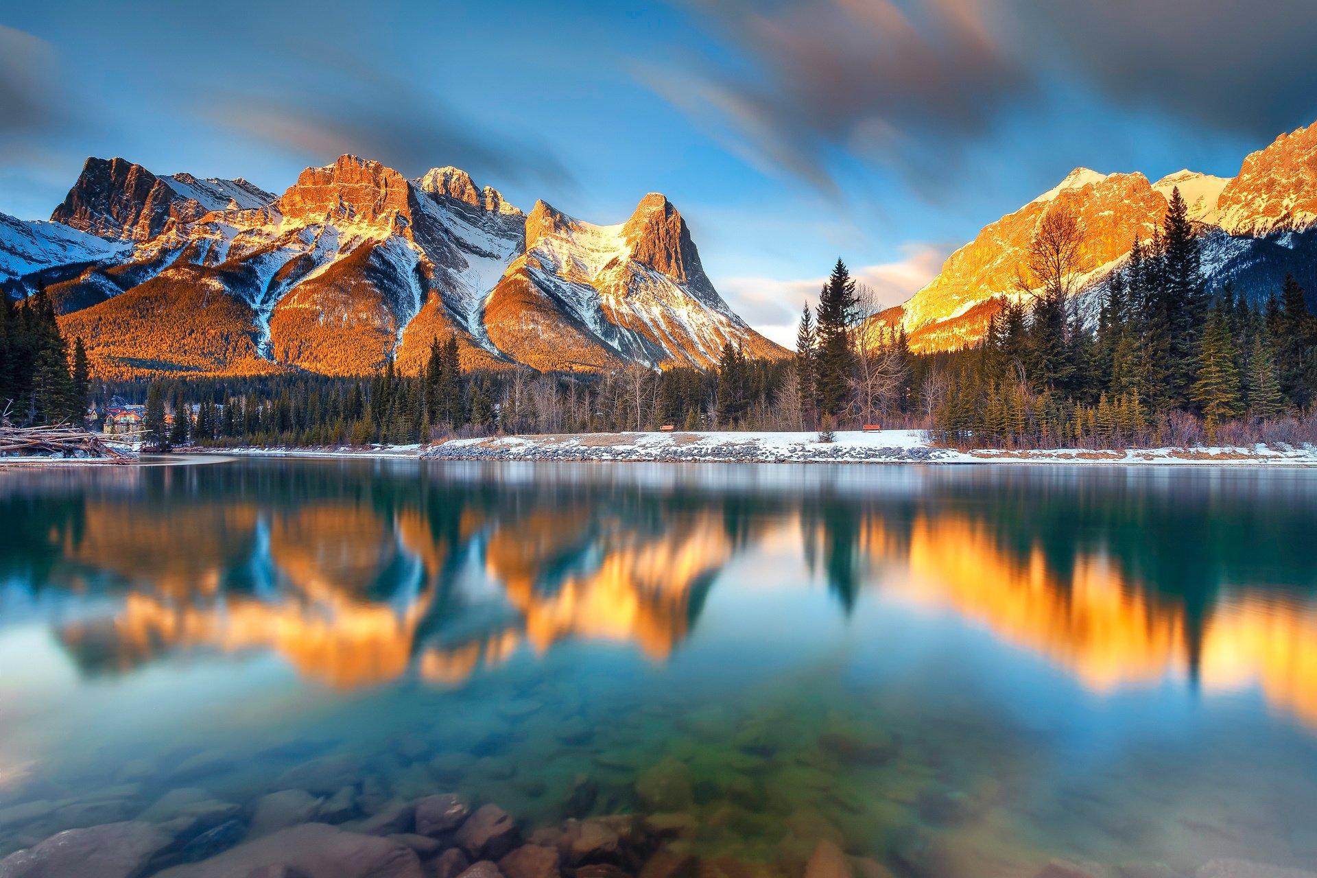 Landscape nature mountains lake reflection alberta canada for Wallpaper canada