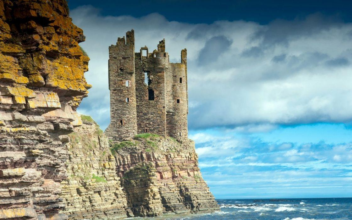 sea waves rocks castle wallpaper