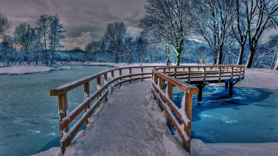 winter snow bridge beauty winter nature river wallpaper