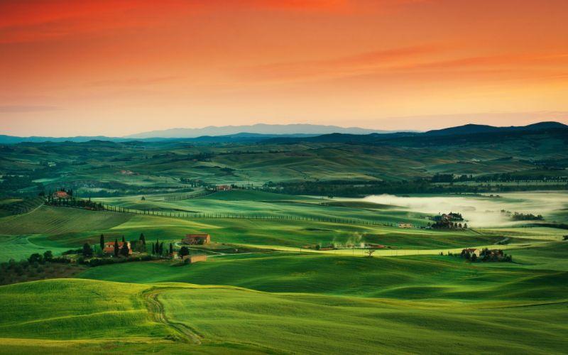 Tuscany Italy fields hills f wallpaper