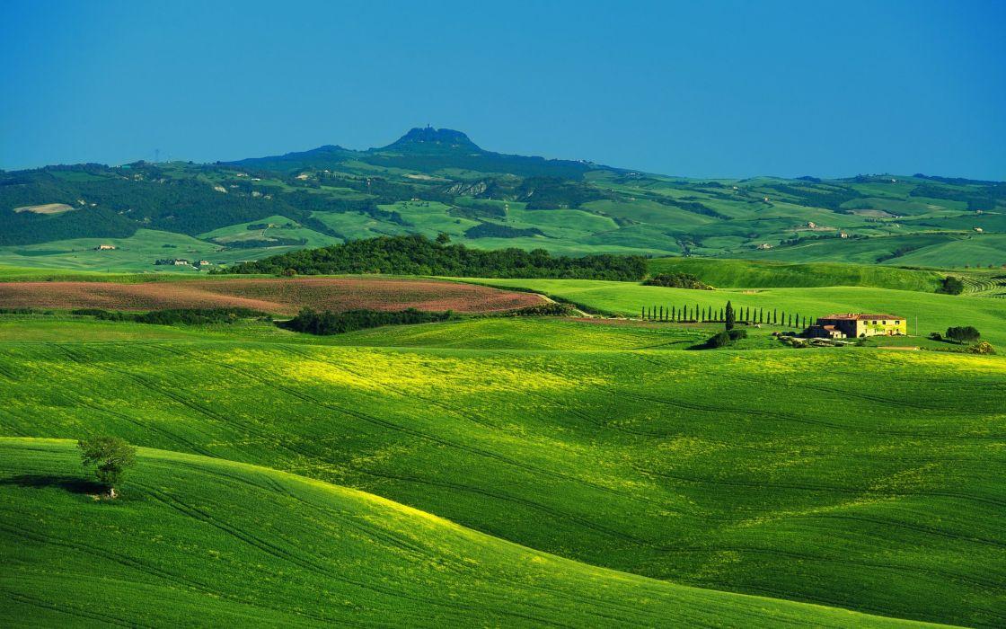 Tuscany Italy fields hills wallpaper